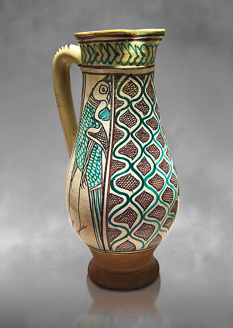 Medieval ceramic jug made in  Orvieto or Sienna, Italy,  at the end of the 14th century. From Faience.  inv 7394, The Louvre Museum, Paris.