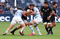 14th November 2020, Sydney, Australia;  Samuel Whitelock is tackled. Tri Nations rugby union test match,  New Zealand All Blacks versus Argentina Pumas. Bankwest Stadium, Sydney, Australia.