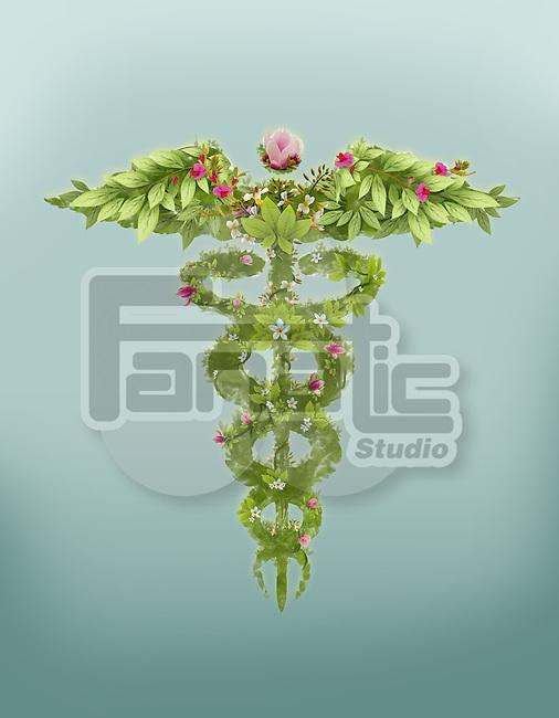 Illustrative image of caduceus symbol made of herbs representing natural medicine