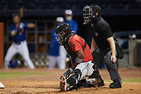 Jacksonville Jumbo Shrimp catcher Brian Navarreto (29) blocks a pitch in the dirt as home plate umpire Travis Godec looks on during the game against the Durham Bulls at Durham Bulls Athletic Park on May 15, 2021 in Durham, North Carolina. (Brian Westerholt/Four Seam Images)