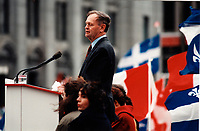"October 27, 1995 File Photo -  Montreal, Quebec. CANADA -  <br /> Jean Chretien , Canadian Prime Minister and Canadian  Liberal leader speak in front of <br /> An estimated 100,000 Canadians from all provinces of Canada gathered at the Place du Canada for  the ""Unity Rally"".<br /> <br /> A rally celebrating a united Canada organized three days before the referendum vote. <br /> <br /> The NO (pro Canada) won by a slight margin over the YES (Quebec separatists) on the October 30, 1995 Referendum"