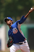 May 14 2009: Marlon Arias of the Inland Empire 66'ers pitches against the Stockton Ports at Arrowhead Credit Union Park in San Bernardino,CA.  Photo by Larry Goren/Four Seam Images
