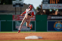 Williamsport Crosscutters Bryson Stott (15) running the bases during a NY-Penn League game against the Batavia Muckdogs on August 25, 2019 at Dwyer Stadium in Batavia, New York.  Williamsport defeated Batavia 10-3.  (Mike Janes/Four Seam Images)