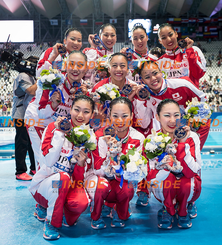 Podium<br /> Bronze Medal<br /> JPN - Japan<br /> HAKOYAMA Aika HAYASHI Aiko<br /> INUI Yukiko MARUMO Kei<br /> MITSUI Risako NAKAMAKI Kanami<br /> NAKAMURA Mai OMATA Kano<br /> TASAKI Asuka YOSHIDA Kurumi<br /> Day 9 01/08/2015<br /> XVI FINA World Championships Aquatics<br /> Synchro<br /> Kazan Tatarstan RUS July 24 - Aug. 9 2015 <br /> Photo Giorgio Scala/Deepbluemedia/Insidefoto