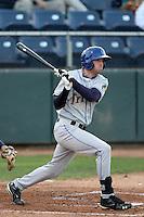 Tri-City Dust Devils outfielder Brian Humphries #46 bats against the Everett Aquasox at Everett Memorial Stadium on August 13, 2011 in Everett,Washington. Everett defeated Tri-City 6-4.(Larry Goren/Four Seam Images)