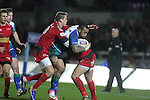 Scarlets pair Gareth Maule and Nic Reynolds combine to stop Connacht wing Fetu'u Vainikolo..Scarlets v Connacht.Parc y Scarlets.Rabo Pro12.08.02.13.©Steve Pope-SPORTINGWALES