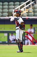 FCL Braves catcher Gianfranco Pena (24) during a game against the FCL Orioles Orange on July 22, 2021 at the CoolToday Park in North Port, Florida.  (Mike Janes/Four Seam Images)
