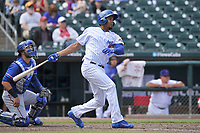 Iowa Cubs third baseman Jeimer Candelario (35) in action during a game against the Round Rock Express at Principal Park on April 16, 2017 in Des  Moines, Iowa.  The Cubs won 6-3.  (Dennis Hubbard/Four Seam Images)