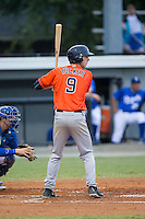 Kyle Tucker (9) of the Greeneville Astros at bat against the Burlington Royals at Burlington Athletic Park on August 29, 2015 in Burlington, North Carolina.  The Royals defeated the Astros 3-1. (Brian Westerholt/Four Seam Images)
