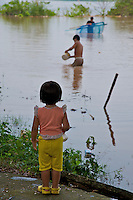 Child at the banks of the river Mekong 25km south of Vientiane,laos