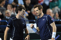Andy Murray (GB), MARCH 05, 2016 - Tennis : Andy Murray (GB) and brother Jamie Murray (GB) during the Davis Cup by PNB Paribas , World Group first round doubles match between Great Britain and Japan at The Barclaycard Arena, Birmingham, United Kingdom. (Photo by Rob Munro/AFLO)
