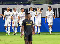 CARSON, CA - SEPTEMBER 06: Cristian Pavon #10 of the Los Angeles Galaxy celebrates his goal during a game between Los Angeles FC and Los Angeles Galaxy at Bank of California stadium on September 06, 2020 in Carson, California.