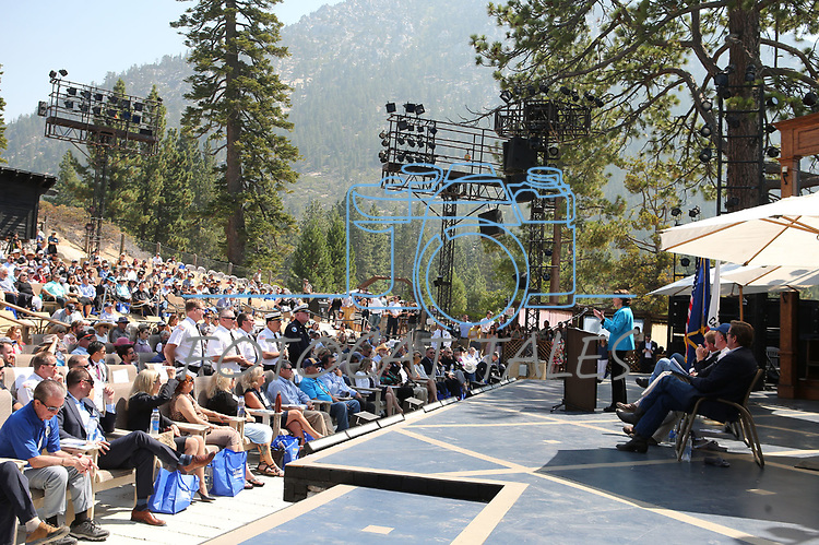 U.S. Sen. Dianne Feinstein, D-Calif., recognizes regional fire chiefs during the 22nd annual Lake Tahoe Summit, at Sand Harbor State Park, near Incline Village, Nev., on Tuesday, Aug. 7, 2018.<br /> Photo by Cathleen Allison/Nevada Momentum