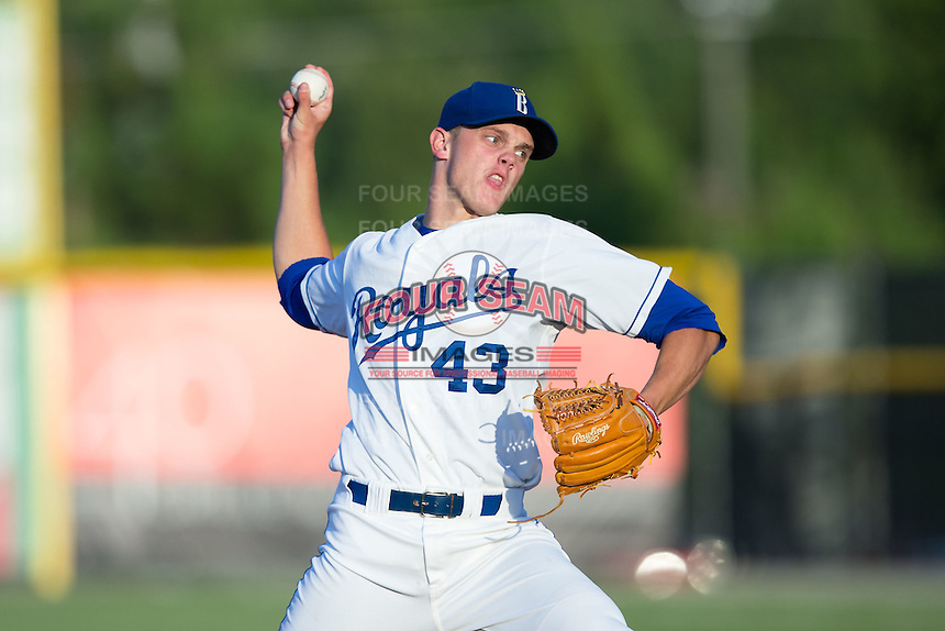 Burlington Royals starting pitcher Ashe Russell (43) in action against the Johnson City Cardinals at Burlington Athletic Park on August 22, 2015 in Burlington, North Carolina.  The Cardinals defeated the Royals 9-3. (Brian Westerholt/Four Seam Images)
