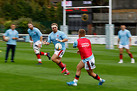 Billy Harding of London Scottish warms up during the Championship Cup match between London Scottish Football Club and Nottingham Rugby at Richmond Athletic Ground, Richmond, United Kingdom on 28 September 2019. Photo by Carlton Myrie / PRiME Media Images