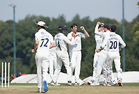 Tim Murtagh and his Middlesex team mates celebrate the wicket of Ian Holland during Middlesex CCC vs Hampshire CCC, Bob Willis Trophy Cricket at Radlett Cricket Club on 11th August 2020