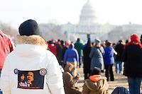 A huge crowd attends the inauguration of Barack Obama as the 44th President of the United States in Washington D.C. on January 20th, 2009.