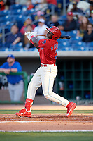 Clearwater Threshers left fielder Cornelius Randolph (2) follows through on a swing during a game against the Dunedin Blue Jays on April 7, 2017 at Spectrum Field in Clearwater, Florida.  Dunedin defeated Clearwater 7-4.  (Mike Janes/Four Seam Images)