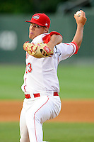 Pitcher Jamie Callahan (23) of the Greenville Drive delivers a pitch in a game against the Charleston RiverDogs on Monday, June 29, 2015, at Fluor Field at the West End in Greenville, South Carolina. Callahan was a second-round pick of the Boston Red Sox in the 2012 First-Year Player Draft. Greenville won, 4-2. (Tom Priddy/Four Seam Images)