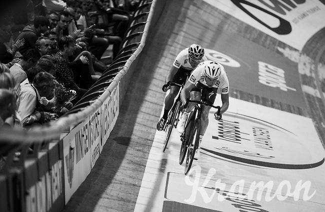 Iljo Keisse (BEL/Etixx-QuickStep) & Elia Viviani (ITA/SKY) launch themselves in the 500m sprint<br /> <br /> 2016 Gent 6<br /> day 1