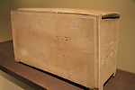 """A 1st century AD ossuary with an Aramic inscription """"Builder of the Temple"""" on display at the Israel Museum"""