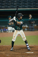 Matt Gorski (36) of the Greensboro Grasshoppers at bat against the Hickory Crawdads at First National Bank Field on May 6, 2021 in Greensboro, North Carolina. (Brian Westerholt/Four Seam Images)
