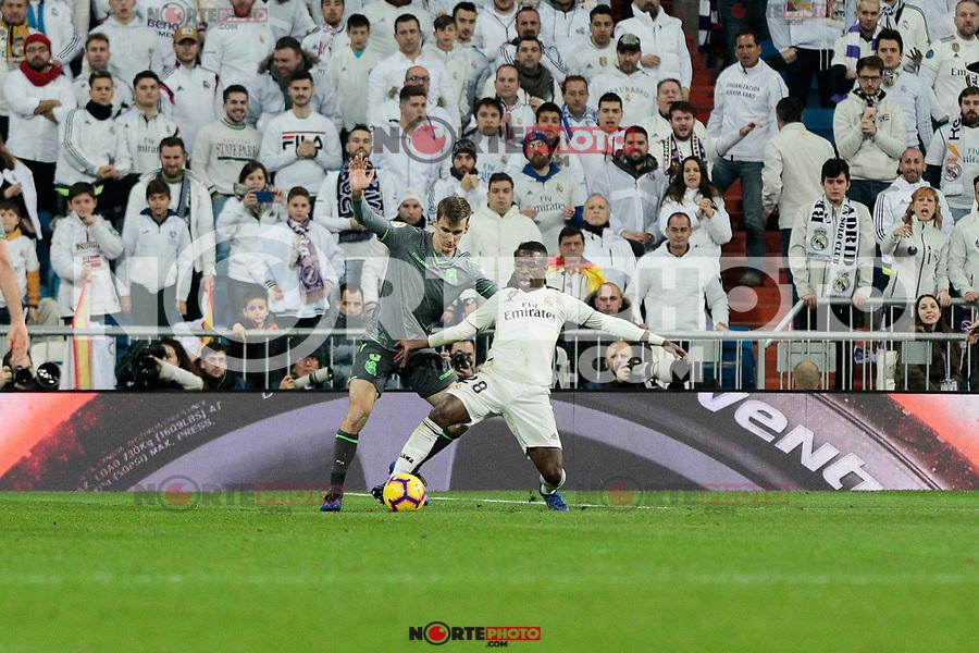 Real Madrid's Vinicius Jr. and Real Sociedad's Diego Javier Llorente during La Liga match between Real Madrid and Real Sociedad at Santiago Bernabeu Stadium in Madrid, Spain. January 06, 2019. (ALTERPHOTOS/A. Perez Meca)<br />  (ALTERPHOTOS/A. Perez Meca) /NortePhoto.com