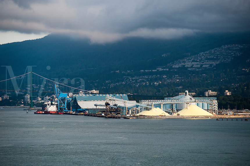 Stockpiled sulphur, North Vancouver Sulphur Works, Vancouver, Canada