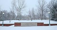 Snow falls over Thomas Jefferson's University of Virginia in Charlottesville, VA.