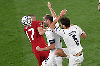 Giorgio Chiellini and Manuel Locatelli of Italy and Burak Yilmaz of Turkey during the Uefa Euro 2020 Group stage - Group A football match between Turkey and Italy at stadio Olimpico in Rome (Italy), June 11th, 2021. Photo Andrea Staccioli / Insidefoto