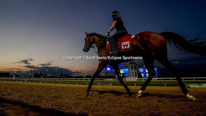 August 30, 2020: Horses exercise as preparations continue for the 2020 Kentucky Derby and Kentucky Oaks at Churchill Downs in Louisville, Kentucky. The race is being run without fans due to the coronavirus pandemic that has gripped the world and nation for much of the year. Scott Serio/Eclipse Sportswire/CSM