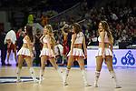Real Madrid´s cheerleaders during 2014-15 Euroleague Basketball match between Real Madrid and Galatasaray at Palacio de los Deportes stadium in Madrid, Spain. January 08, 2015. (ALTERPHOTOS/Luis Fernandez)