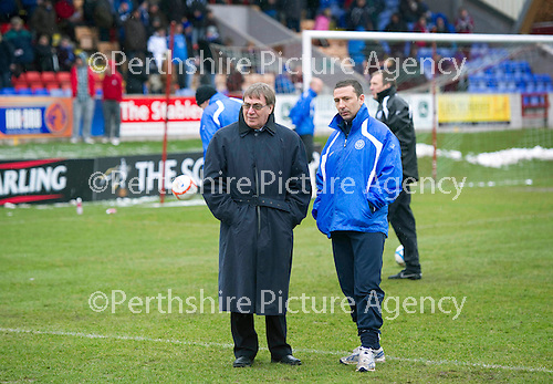 Brechin v St Johnstone....12.03.11  Scottish Cup Quarter Final.Geoff Brown and Derek McInnes inspect the pitch before kick off.Picture by Graeme Hart..Copyright Perthshire Picture Agency.Tel: 01738 623350  Mobile: 07990 594431