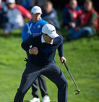 26.09.2014. Gleneagles, Auchterarder, Perthshire, Scotland.  The Ryder Cup.  Keegan Bradley [USA] celebrates a putt during the Friday Fourballs.