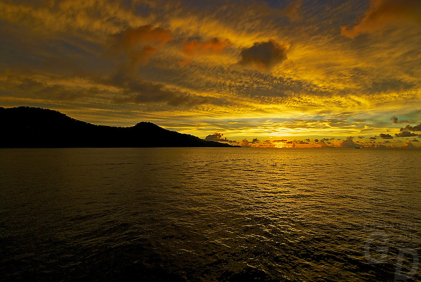 Sunset in the Truk Lagoon, the island of Chuuk also called Truk Lagoon, it was her that during the IIWW in the Pacific a whole fleet of Japanese War ships have been sunk, making it today one of the best dive sites for shipwrecks. Most of the wreck still have everything on board like ammunition, cars, trucks, tanks and skeletons from the sailors can be found