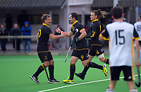 Dane Lett celebrates one of his three goals during the men's premier one Wellington Hockey final between Dalefield and Harbour City at National Hockey Stadium in Wellington, New Zealand on Saturday, 26 September 2020. Photo: Dave Lintott / lintottphoto.co.nz