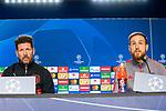 Diego Pablo Simeone (l) and Jan Oblak attend the Press Conference previous to Atletico de Madrid vs Lokomotiv Moscu game of Champions League at Wanda Metropolitano. December 10 2019. (Alterphotos/Francis Gonzalez)