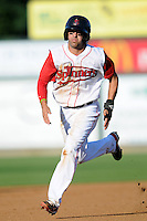 Lowell Spinners shortstop Deven Marrero #6 during a game versus the Connecticut Tigers at LeLacheur Park in Lowell, Massachusetts on August 26, 2012.  (Ken Babbitt/Four Seam Images)