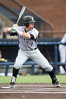 Oakland Golden Grizzlies outfielder Tyler Pagano (8) at bat against the Michigan Wolverines on May 17, 2016 at Ray Fisher Stadium in Ann Arbor, Michigan. Oakland defeated Michigan 6-5 in 10 innings. (Andrew Woolley/Four Seam Images)