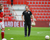 20150508 - LIEGE , BELGIUM : Standard's head coach Patrick Wachel pictured during the soccer match between the women teams of Standard de Liege Femina and PSV Eindhoven , on the 26th and last matchday of the BeNeleague competition Friday 8 th May 2015 in Stade Maurice Dufrasne in Liege . PHOTO DAVID CATRY
