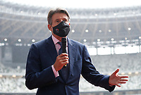 8th October 2020, Tokyo, Japan;  World Athletics President Sebastian Coe wearing a protective face mask speaks to media as he inspects the National Stadium, the main stadium of Tokyo 2020 Olympics and Paralympics, in Tokyo, Japan