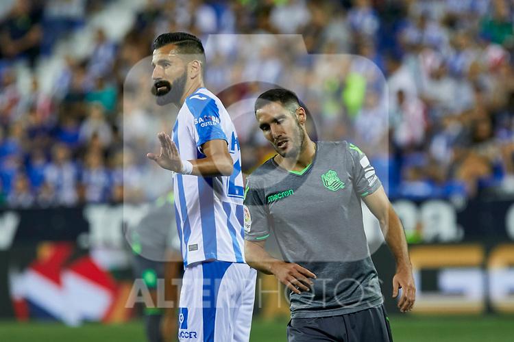 Leganes' Dimitrios Siovas and Real Sociedad's Joseba Zaldua during La Liga match. August 24, 2018. (ALTERPHOTOS/A. Perez Meca)
