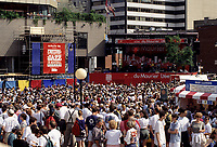 Montreal (Qc) CANADA, July 1997-<br /> outdoor scene at the<br /> Montreal Jazz Festival, sponsored by Tobacco  brand Dumaurier.<br /> <br /> -Photo (c)  Images Distribution