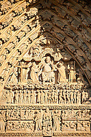 Tympanum of central west portal: Christ in Majesty presides over the Day of Judgement, supported by an array of saints.  Gothic Cathedral of Notre-Dame, Amiens, France