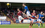 Arbroath v St Johnstone…15.08.21  Gayfield Park      Premier Sports Cup<br />Stevie May heads wide<br />Picture by Graeme Hart.<br />Copyright Perthshire Picture Agency<br />Tel: 01738 623350  Mobile: 07990 594431