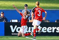 Alexandra Popp celebrates her goal for Germany..FIFA U17 Women's World Cup, Semi Final, Germany v USA, QEII Stadium, Christchurch, New Zealand, Thursday 13 November 2008. Photo: Renee McKay/PHOTOSPORT