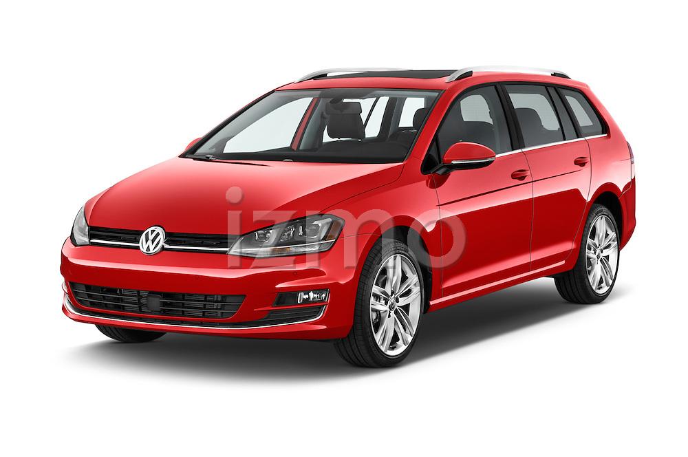 2015 Volkswagen Golf Highline 5 Door Wagon 2WD Angular Front stock photos of front three quarter view