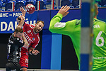 07.10.2020, Klingenhalle, Solingen,  GER, 1. HBL. Herren, Bergischer HC vs. HC Erlangen, <br /> <br /> im Bild / picture shows: <br /> Steffen Fäth / Faeth (HC Erlangen #13), Arnór Thor Gunnarsson (BHC #11),   <br /> <br /> <br /> Foto © nordphoto / Meuter *** Local Caption ***