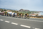 The peloton led by Jumbo-Visma along the coast during Stage 10 of La Vuelta d'Espana 2021, running 189km from Roquetas de Mar to Rincón de la Victoria, Spain. 24th August 2021.     <br /> Picture: Cxcling   Cyclefile<br /> <br /> All photos usage must carry mandatory copyright credit (© Cyclefile   Cxcling)
