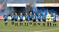 20180127 - AALTER , BELGIUM : Brugge's players with Julie Vankeirsbilck , Kay Cuvelier , Katinka Dubois , Elle Decorte , Saar Verdonck , Raquel Viaene , Sharon Desaever , Febe Vanhaecke , Ellen Martens , Bianca Debeuckelaere and Barbara Lezy  pictured during the quarter final of Belgian cup 2018 , a womensoccer game between Club Brugge Dames and Standard Femina de Liege , in Aalter , saturday 27 th January 2018 . PHOTO SPORTPIX.BE | DAVID CATRY